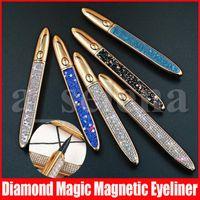 Wholesale eyelashes sizes resale online - Diamond Magic Magnetic Eyeliner Long Lasting Liquid Eyeliner Strong Suction Magnetic Eyelash Eye Liner Black Coffee Transparent Colors