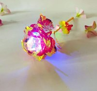Wholesale gold colored roses for sale - Group buy 24k Gold Foil Plated Rose Led Rainbow Flower gold plated Rose light valentine gift Christmas Wedding Decorations GGA3767