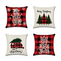 Wholesale christmas pillow resale online - Christmas Pillow Case Canvas CM ELK Printed Individual Package Christmas Pillow Cover Retro Plaid Pillowcase more style GGE2211