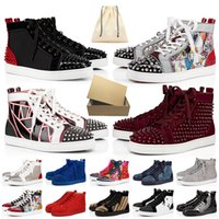 plattform-müßiggänger groihandel-Mit Box red bottoms luxurys brand designers shoes junior loafers große Größe uns 13 Luxus Herren Designer Schuhe Frauen Freizeitschuhe Spikes Turnschuhe roter Boden