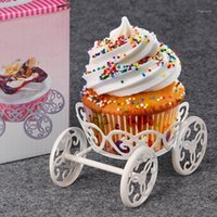 Discount free standing wedding decorations New Cake Stand White Pastry Baking Metal Wheel Cupcake Stand Cake Display Wedding Birthday Party Decorations Free Shipping1