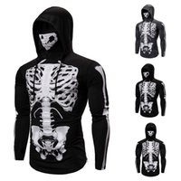 Wholesale t shirt hat pattern resale online - Stretch men s Sweatshirt Ninja Hat Halloween pattern long sleeve skull face mask sweater fine T shirt