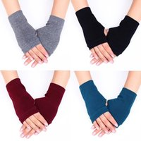 Wholesale hand cotton gloves for sale - Group buy 1 Pairs Soft Elastic Warmer Mittens Crochet Knitted Gloves Hand Wrist Fingerless Gloves Solid Color Warm Combed Cotton