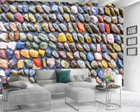 Wholesale stone wall landscaping resale online - 3d Modern Wallpaper Romantic Landscape d Mural Wallpaper Colored Stone Wall Custom D Photo Wallpaper Home Decor