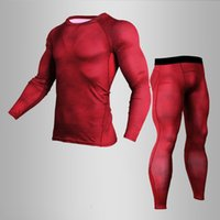 Wholesale mens skin tight compression tops resale online - New MMA Printed Thermal Underwear Men Compression Thermal Long Sleeve T Shirt Mens Fitness Bodybuilding Skin Tight LJ201008
