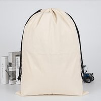 Wholesale resuable bags resale online - Resuable Canvas Drawstring Bag Gift Package Storage Pouch Cosmetic Cotton Canvas Handbag Blank White Travel Accessories IIA713