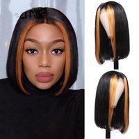 Wholesale malaysian auburn human hair wigs for sale - Group buy Straight Highlight Closure Wig Short Bob Wig Lace Front Wig Human Hair Wigs For Black Women
