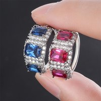 Wholesale tanzanite rings for sale - Group buy Luxury Jewelry Sterling Silver Three Stone Blue Sapphire CZ Diamond Tanzanite Women Party Wedding Engagement Band Ring For Lover Gift