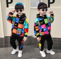Wholesale kids clothing pants jumpers resale online - Winter New Boys Colorful Plaid letter casual outfits kids thicken long sleeve hooded jumper sports pants sets kids clothing A4796