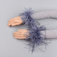 Wholesale gold arm warmers for sale - Group buy Genuine Cuff Arm Warmer Lady Bracelet Real Wristband Glove Ostrich Fur Cuffs