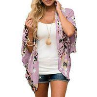 Wholesale half cape for sale - Group buy Multicolors Women Chiffon Floral Kimono Cardigan Loose Half Sleeve Shawl Capes Boho Bohemia Print Cover Up Kimono Blouse S XL