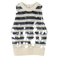 Black white striped patchwork tank top women Sleeveless sequins short modis knitted tops 2020 autumn and winter new arrival