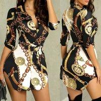 Wholesale designer short sexy lace dresses resale online - Black friday Women Blouses New Ladies Sexy Nightclub Lace Short Long Sleeve Chain Print Belt Casual Shirt Dress T