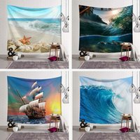 Wholesale wave paintings resale online - Sea Wave Rainstorm Tapestry Wall Hanging Large Ancient Halobios Sailboat White Beach Painting Tapestries Boho Yoga Beach Towels
