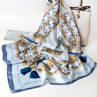 Wholesale big scarves women for sale - Group buy Fashion Retro Small printing Silk Scarf Female Imitation Silk Big Square Scarf Tied Bag Decoration Spring And Autumn Multifunctional Scarves