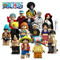 morceaux de blocs de construction achat en gros de-15pcs One Piece Building Blocks Luffy Zoro Nami Sanji Shanks Sakazuki Sabo Trafalgar Law Figurines d'action Briques Jouets