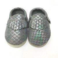 Wholesale unique kids shoes for sale - Group buy Unique Metallic Mermaid Scales Genuine Leather Newborn Baby Girls Kids Boy Shoes