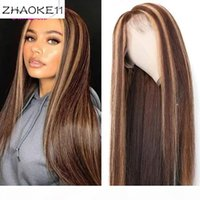 Wholesale black highlighted hair for sale - Group buy Highlight Colored Human Hair Wigs Pre Plucked Lace Front Human Hair Wigs Ombre Remy Frontal Wig For Black Women