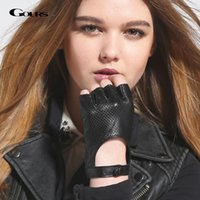 Wholesale fingerless leather gloves fashion for sale - Group buy Gours Women Genuine Leather Gloves Black Fashion Real Goatskin Fingerless Gloves Fall and Winter Half Finger New Arrival GSL037