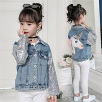 Wholesale korean clothing for babies for sale - Group buy HIPAC Baby Girl Jacket Unicorn Clothes Kids Little Clothing Denim Jackets for Girls Autumn Winter Korean Sequin Top C1012