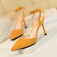 Wholesale small heels resale online - Korean fashion slim heel super high heel suede shallow pointed hollowed out small bow tied sandals