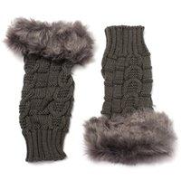 Wholesale rabbit fur hand wrist warmer for sale - Group buy Women Hot Winter Wrist Arm Hand Warmer Knitted Long Gloves Mittens Faux Rabbit Fur Wool Fashion Fingerless Glove H17