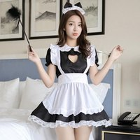 Wholesale sexy apron home kitchen resale online - Household Maid Sexy Apron Dress Women Lady Role playing Game Clothe Suit French Kitchen Restaurant Apron Home Cleaning Waitress