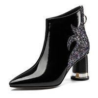 Wholesale bling ankle boots resale online - Genuine Leather Women s Ankle Boots Fashion bling patchwork High Heels Pumps Night Club Party Shoes Woman size