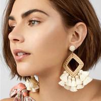 Wholesale huge stud earrings for sale - Group buy BK Rope Fabric Knit Tassels Earrings Women Boho Huge Fashion Jewelry Dangle Stud Earring Ear Drop Set Luxury Handmade Jewel Gift