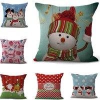 Wholesale home decor drop ship resale online - Merry Christmas Santa Claus Throw Pillow Case Cotton Linen Cushion Cover Deer Snowman Pillowcase Xmas Party Home Sofa Bed Decor Drop Ship