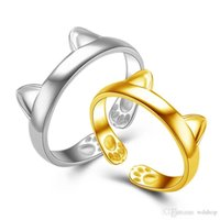 Wholesale gold finger bands girls resale online - Cute k White Gold Cat Ear Band Rings With Paw Charm Open Rings For Women Party Finger Rings Jewelry Lovely Girls Gold Midi Ring