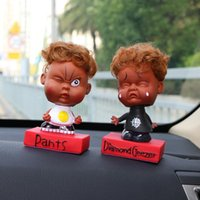 Wholesale car head shaking toy for sale - Group buy Car Ornament Cute Decoration Shaking Head Expression Baby Doll Automobile Interior Dashboard Decor Toys Home Furnishing Kid Gift