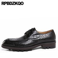 schlange braun groihandel-Python-Leder Snakeskin Brown Männer Kleid Italienische Schuhe Alligator Crocodile Plattform Office Oxfords Creepers schwarzer formalen Snake