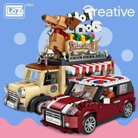 Wholesale toy carts resale online - Loz Technic Mini Building Blocks Hot Dog Cart Car Vehicle Assemable Kids Educational Toys For Children Creator Ice Cream Truck Y190606