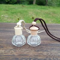 Wholesale wooden perfume bottles for sale - Group buy 12ML Clear Glass Car Pendant Hanging Bottle Refillable Perfume Packaging Bottle with Wooden Cap colors EWB2568