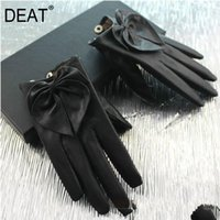Wholesale bow leather gloves resale online - DEAT New Leather Gloves Women Solid Color Five finger Fashion Cute Bow Warm Gloves PC385