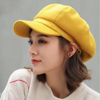 Wholesale stylish winter women hats resale online - wool Women Beret Autumn Octagonal Cap Hats Stylish Artist Painter Newsboy Caps Black Grey Beret Winter Hats