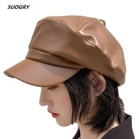 Wholesale leather hats for women for sale - Group buy SUOGRY Solid Visor Hat Autumn And Winter Vintage Pu Leather Flat Cap Beret Cap For Women England Style Bone
