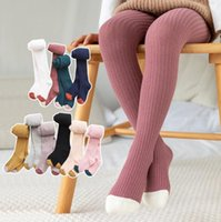 kids fall color leggings 2021 - Children stripe knitting tight kids pantyhose 2020 fall new baby girls cotton knitted princess tights outdoor warm leggings stocking