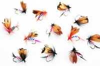 salmon fishing baits 2021 - 48pcs lot Fly Fishing Lures Butterfly Fly Insects Dry Flies Bait Hook Salmon Trout Fishing Tackle