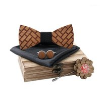Wholesale Neck Ties Classic Wooden Bow Tie Set With Square Box Cufflink Brooch Apparel Accessories Wedding Tie1