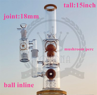 Wholesale recycler 15 resale online - Dab Oil Rigs bong inches with mm Male Joint Recycler Glass Bong Perc Quartz Banger Carb Cap Glass Water Pipes