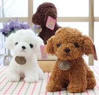 Wholesale light toys for babies resale online - 20CM Small Puppy Stuffed Plush Dogs Toy White Brown Light brown Soft Dolls Baby Kids Toys for Children Birthday Party Gifts Z0479