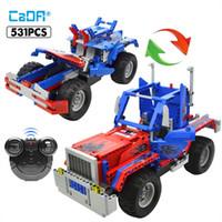 Wholesale optimus prime toys for sale - Group buy Cada Rc Optimus Prime Truck Moc Building Blocks Technic Remote Control Off Road Trucks Bricks Toys For Kids yxlifC ly_bags