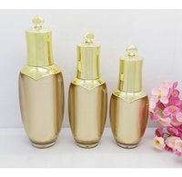 Wholesale crown cosmetics resale online - freeshipping ml ml High end golden acrylic cosmetics packing bottle Crown suit bottle press emulsion lotion bottle