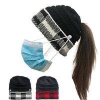 Wholesale cuffed knit hat resale online - Adults Winter Knit Hats Women Ponytail Hat Beanies Plaid Cuff Patchwork Crochet Hat with Face Mask Button Design Knitted Skull Caps D102710