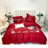 Wholesale red flower bedding sets for sale - Group buy Red Wedding Style Flowers Embroidery S Egyptian Cotton Bedding Set Queen King Duvet Cover Bed Linen Fitted Sheet Pillowcases