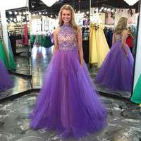 Wholesale stunning two piece prom dresses for sale - Group buy Sexy Keyhole Back A Line Evening Pageant Dresses High Neck Stunning Beaded Crystals Floor Long Two Pieces Formal Prom Occasion Gowns