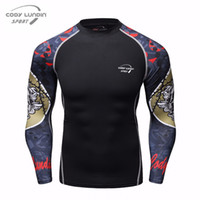 Wholesale skin tight tops for sale - Group buy Muscle Men Compression Tight Skin Shirt Long Sleeve D Prints Rashguard Fitness Basic Layer Weight Lifting Male Tops Wear trend