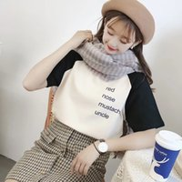 Wholesale cotton brushes for sale - Group buy KKdoM Autumn and cotton new style old back cartoon printing winter letters student cotton t shirt English raglan sleeve brushed junior t shir